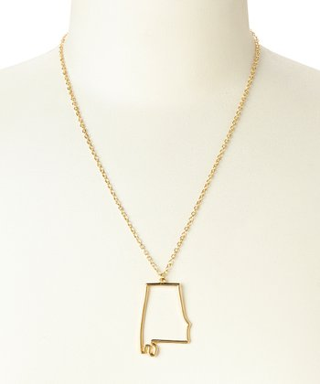 Gold Alabama Cutout Pendant Necklace