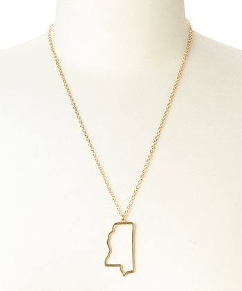 Gold Mississippi Cutout Pendant Necklace