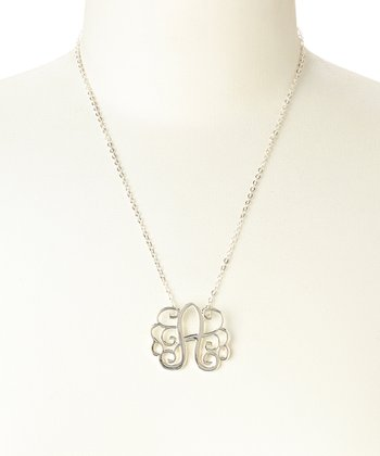 Silver Monogram 'A' Pendant Necklace
