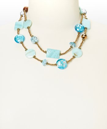 Gold & Blue Beaded Double-Strand Necklace