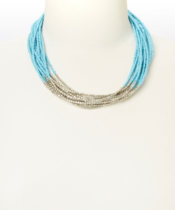 Silver & Blue Beaded Necklace