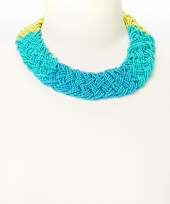 Blue & Yellow Color Block Braided Bib Necklace