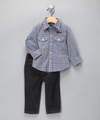 Blue Plaid Button-Up & Jeans - Infant