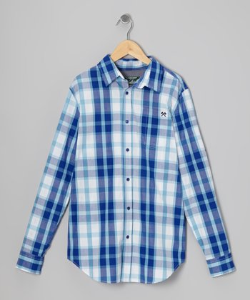 Blue Signature Plaid Button-Up - Toddler & Boys