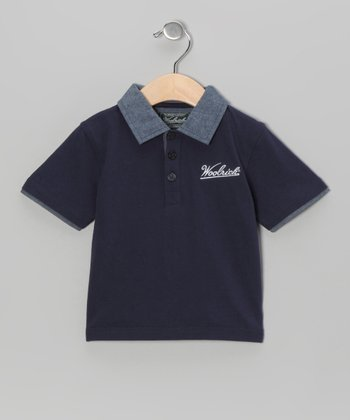 Navy & Chambray Polo - Boys