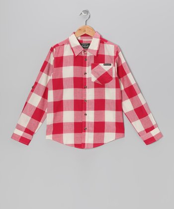Red Plaid Signature Button-Up - Boys
