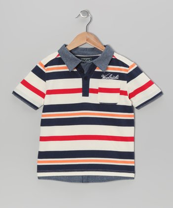 Navy & Red Stripe Polo - Boys