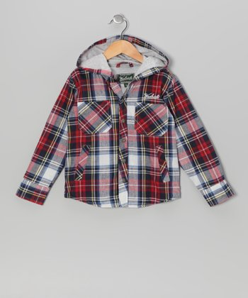 Red Plaid Woven Button-Up - Boys