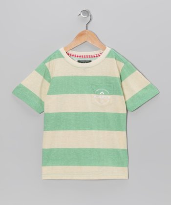 Green Stripe Pocket Tee - Boys