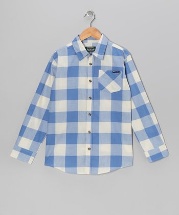 Blue Plaid Signature Button-Up - Boys