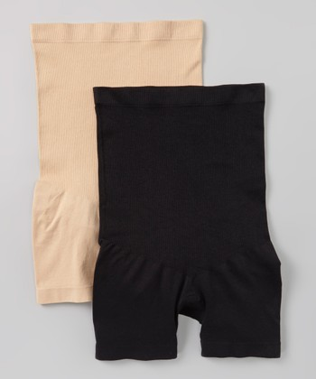 Black & Nude High-Waist Boyshorts Set