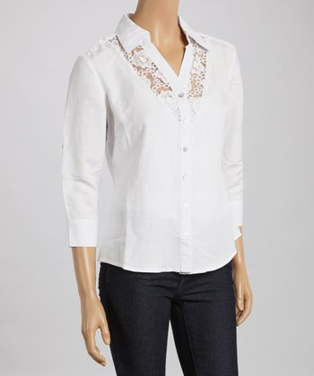 White Lace Button-Up - Women & Plus
