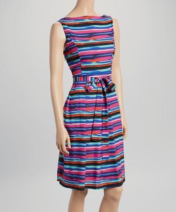 Voir Voir Purple & Black Stripe Sleeveless Dress