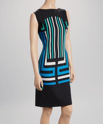 Voir Voir Blue & Black Abstract Sleeveless Dress