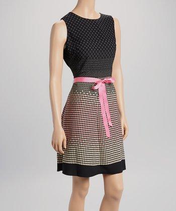 Voir Voir Fuchsia & Black Dot Sleeveless Dress