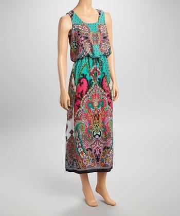 Shelby & Palmer Green & Pink Paisley Sleeveless Midi Dress