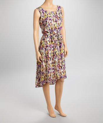 Shelby & Palmer Orange & Purple Abstract Sleeveless Hi-Low Dress