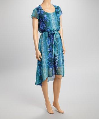 Shelby & Palmer Navy & Green Snakeskin Scoop Neck Hi-Low Dress