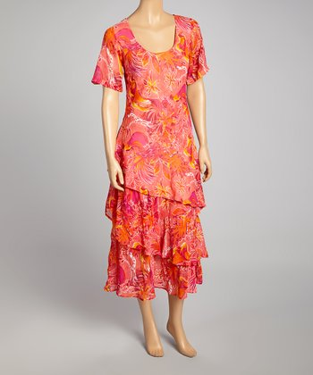 Coral & Orange Abstract V-Neck Dress - Women