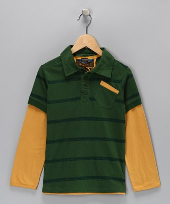 Green Stripe Layered Polo - Toddler & Boys