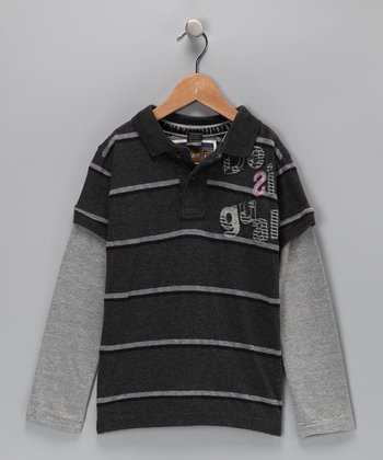 Gray Stripe Layered Polo - Toddler & Boys