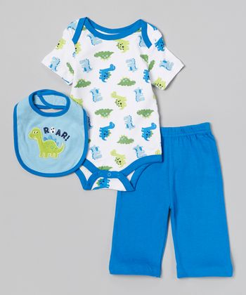 Blue 'Roar!' Dinosaur Bodysuit Set