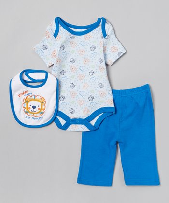 Blue 'Roar I'm Hungry' Bodysuit Set