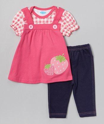 Pink Strawberry Layered Tunic & Leggings - Infant