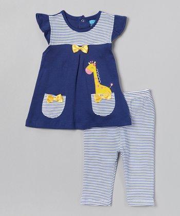 Blue Giraffe Tunic & Stripe Leggings - Infant