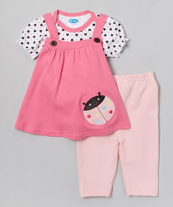 Pink Ladybug Layered Tunic & Leggings - Infant
