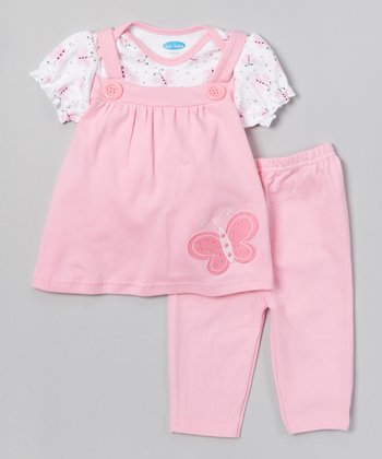 Pink Butterfly Layered Tunic & Leggings - Infant
