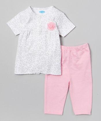 Gray & Pink Leopard Tunic & Leggings - Infant