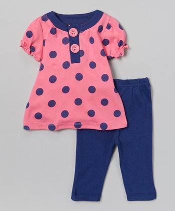 Pink & Blue Polka Dot Tunic & Leggings