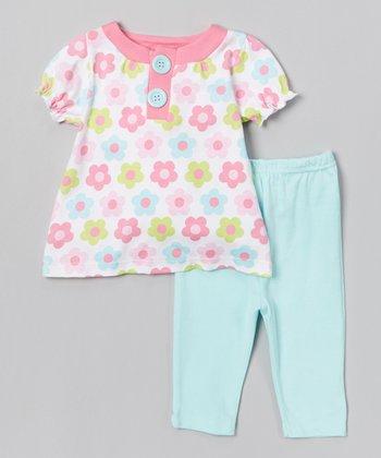 Pink & Blue Floral Tunic & Leggings - Infant