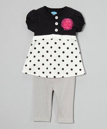 Black & White Polka Dot Tunic & Leggings - Infant