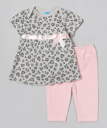 Gray Leopard Bow Tunic & Pink Leggings - Infant