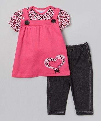Pink Leopard Heart Tunic & Leggings - Infant
