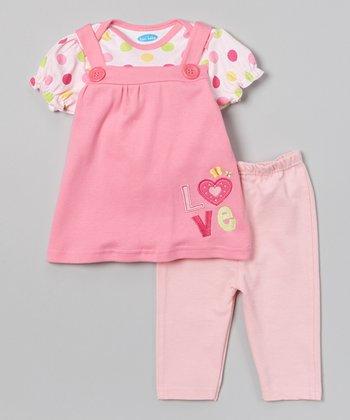 Pink 'Love' Layered Tunic & Leggings - Infant