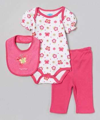 Pink Butterfly Bodysuit Set - Infant