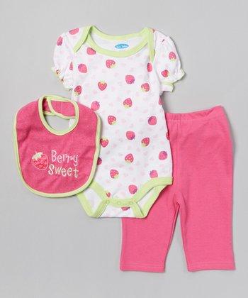 Pink 'Berry Sweet' Bodysuit Set - Infant