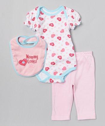Pink & Blue 'Mommy Loves Me!' Bodysuit Set - Infant