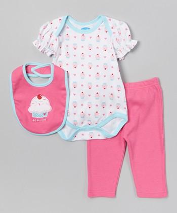 Blue 'So Sweet' Cupcake Bodysuit Set - Infant