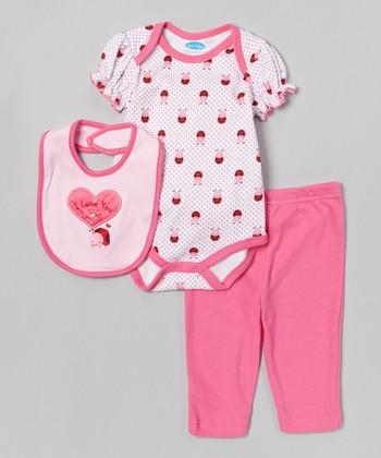 Pink 'I Love You' Ladybug Bodysuit Set - Infant