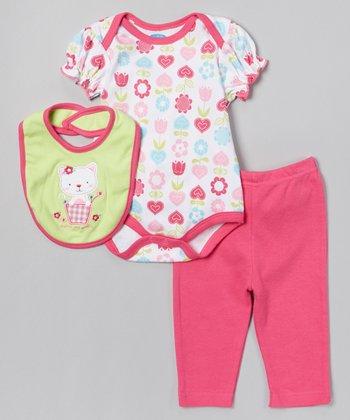 Pink & Green Cat Bodysuit Set - Infant