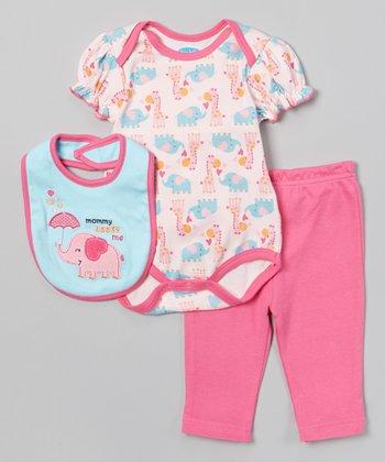 Pink 'Mommy Loves Me' Elephant Bodysuit Set - Infant