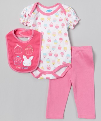 Pink 'I'm So Sweet' Bunny Bodysuit Set - Infant