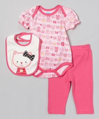 Pink Kitten Bodysuit Set - Infant