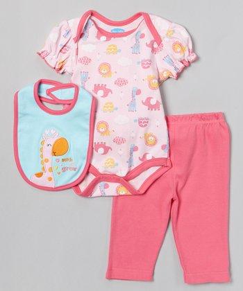 Pink 'Watch Me Grow' Bodysuit Set - Infant