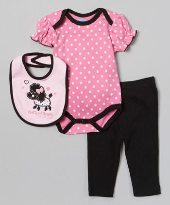 Pink 'Pretty Little Girl' Poodle Bodysuit Set - Infant