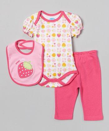 Pink 'Sweet Baby' Strawberry Bodysuit Set - Infant
